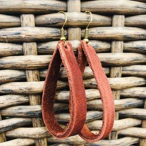 Leather earrings hoops in Warm mahogany brown.